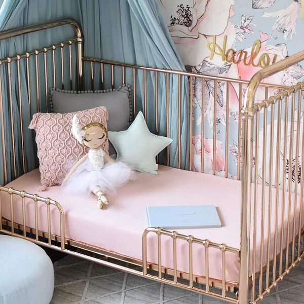 Fitted Cot Sheet - Lullaby Pink - Little Bambino Bear