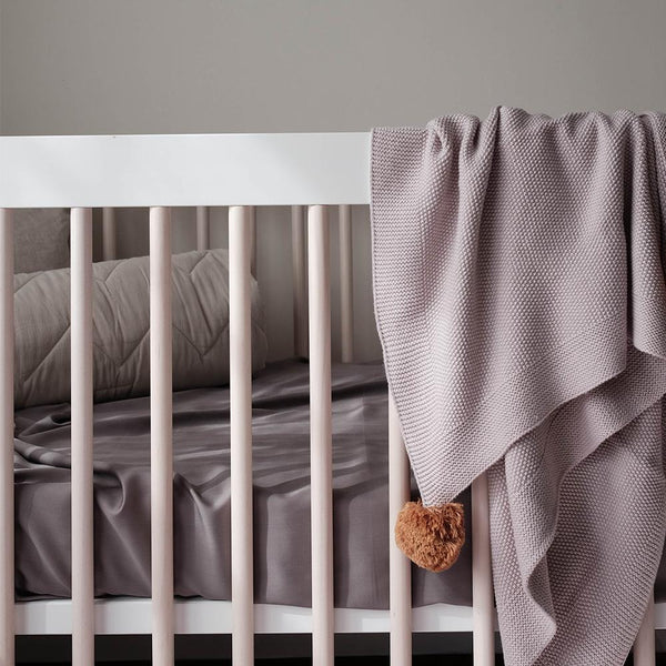 Mulberry Threads fitted cot sheet in Steel