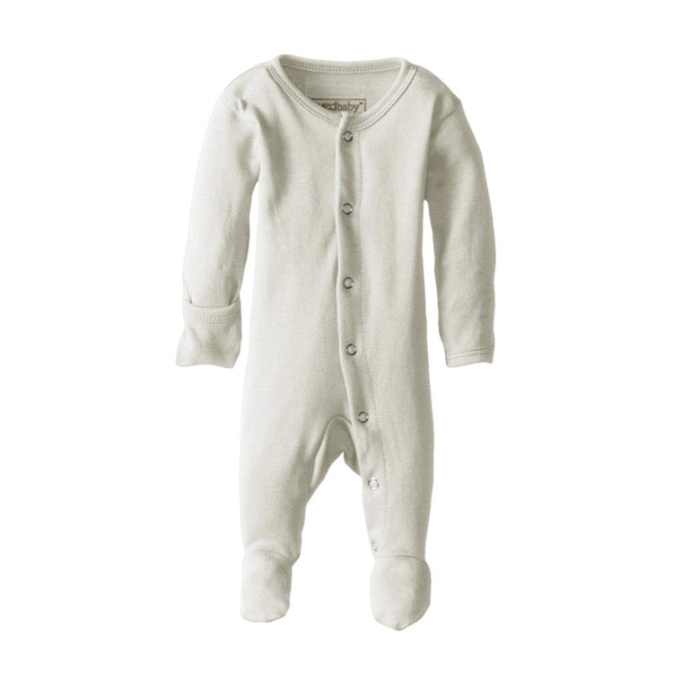 Organic Footed Overall - Stone - Little Bambino Bear