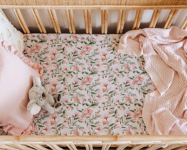 Fitted Cot Sheet - Wattle | Little Bambino Bear