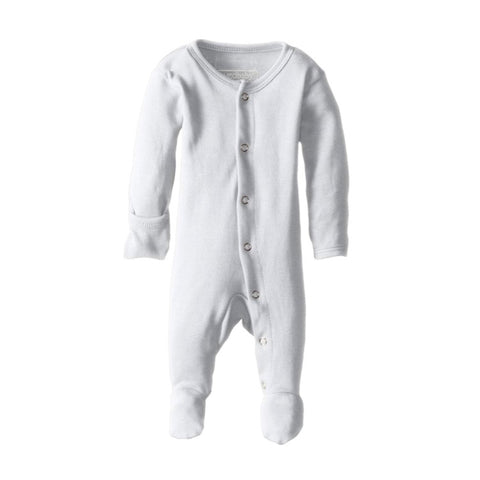 Organic Footed Overall - White - Little Bambino Bear