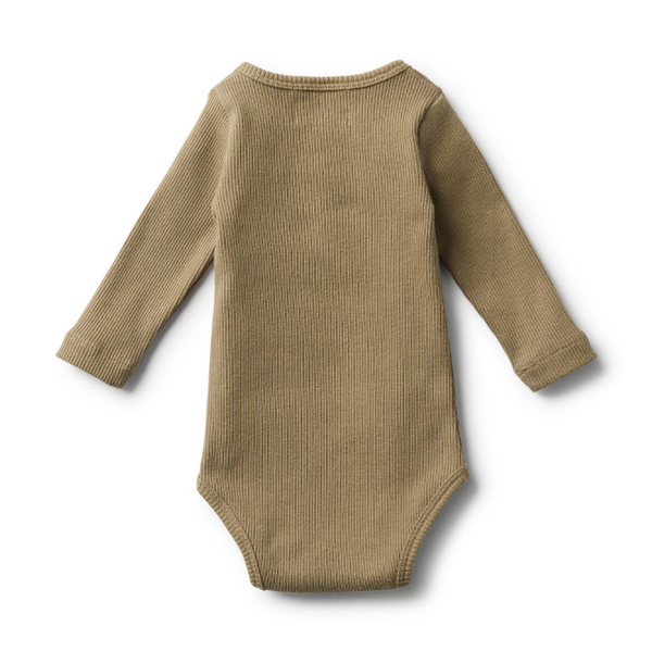 Organic Olive Rib Long Sleeve Bodysuit - Little Bambino Bear