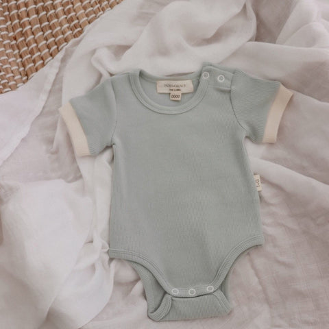 Ribbed Short Sleeve Onesie - Dusty Sage