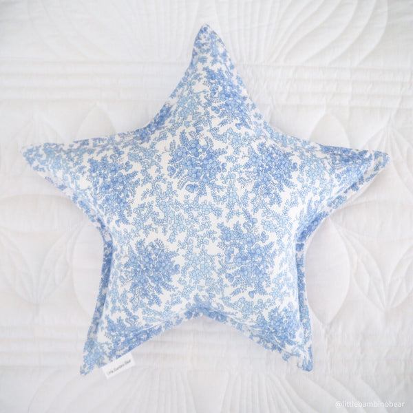 Blue Floral Star Cushion