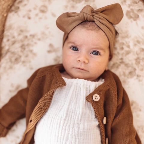 Baby Topknot Headband in Caramel - Little Bambino Bear