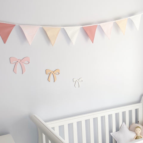 Nursery Bunting - Dusty Pink 8 flag - Little Bambino Bear
