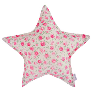Pink Roses Floral Star Cushion - Little Bambino Bear