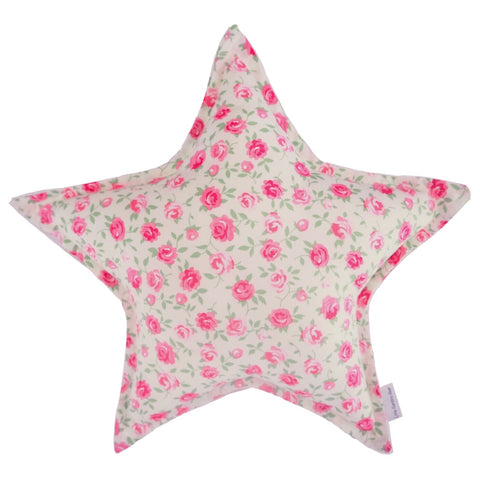 Little Bambino Bear - Pink Roses Floral Star Cushion