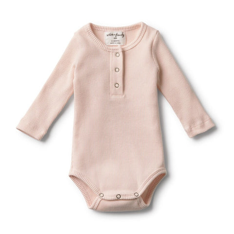Organic Oyster Rib Long Sleeve Bodysuit - Little Bambino Bear