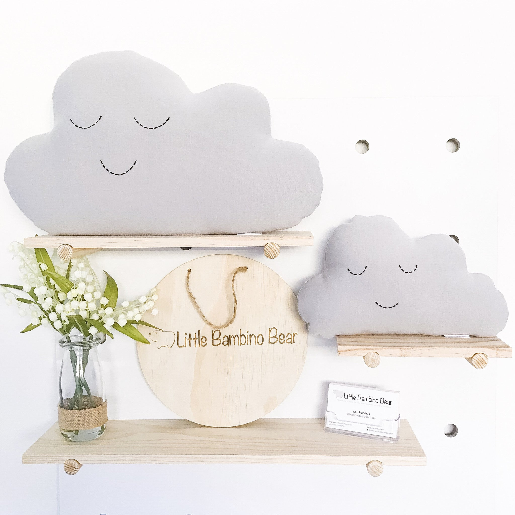 Grey Medium Cloud Cushion - Little Bambino Bear