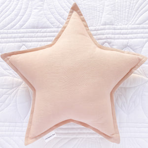 Blush Linen Star Cushion 40cm - Little Bambino Bear