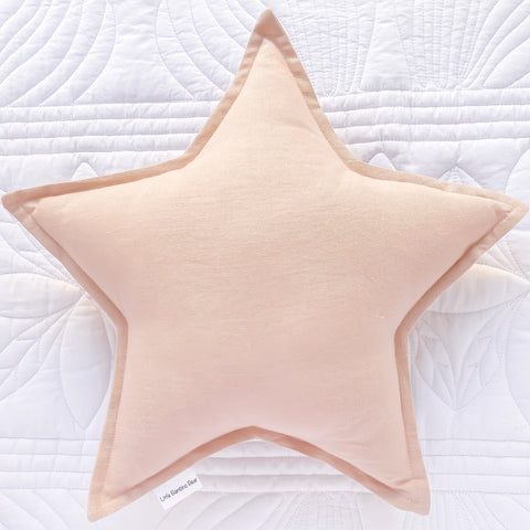 Blush Linen Star Cushion Handmade | Little Bambino Bear