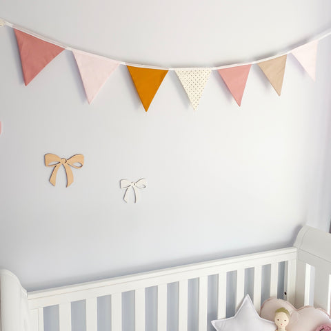 Nursery Bunting - Mustard Pink 8 flag - Little Bambino Bear