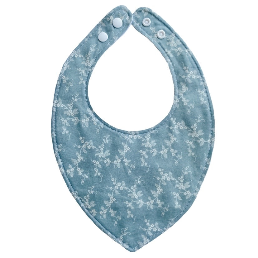 Baby Bib - Blue Floral Chain - Little Bambino Bear