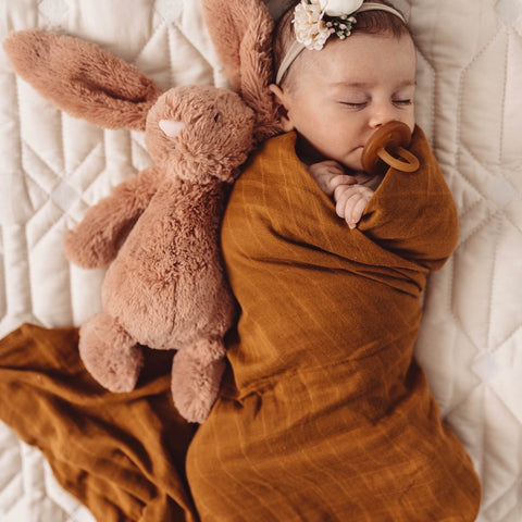 Organic Muslin Wrap - Bronze - Little Bambino Bear