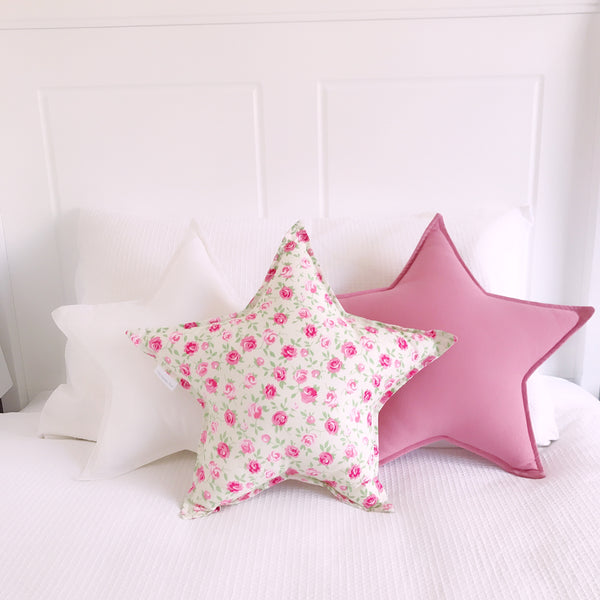Pink Roses Floral Star Cushion
