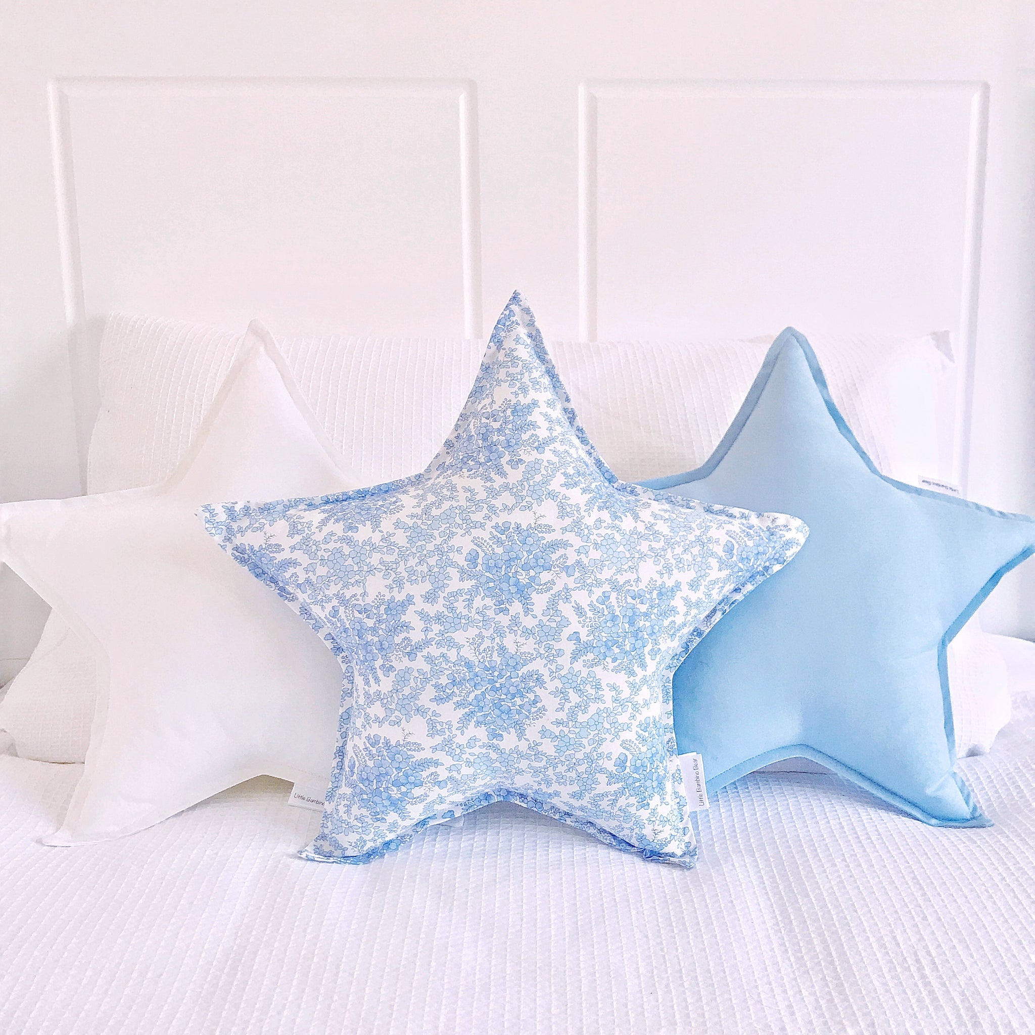 Blue Floral Star Cushion - Little Bambino Bear