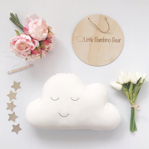 White Medium Cloud Cushion - Little Bambino Bear