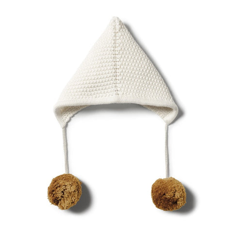 Wilson and Frenchy Ecru Knitted Bonnet pom pom |  Little Bambino Bear