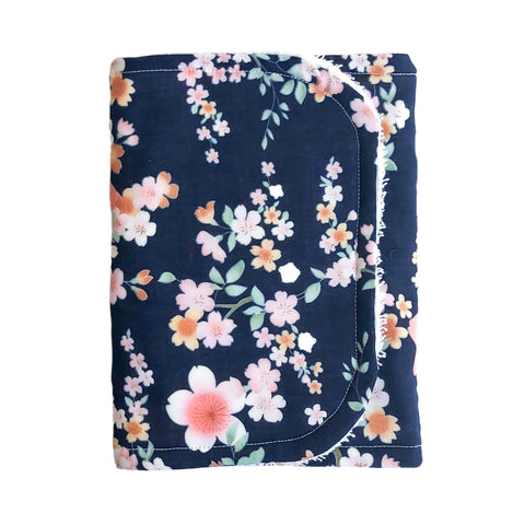 Little Bambino Bear - Navy Floral Burp Cloth