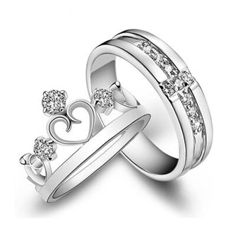 Silver Plated Jewelry Engagement Love Crown Cross Rings