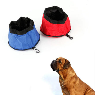 Folding Pet Dog Dish Feeders Oxford Cloth Waterproof Portable - Deals Blast
