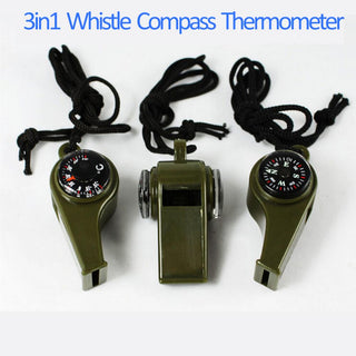 Whistle Compass Thermometer 3 in1 Survival Camping Outdoor Item - Deals Blast
