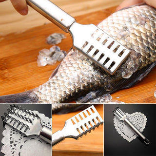 Stainless Steel fishs Skin Scale Scraper Cleaner P_eeler Scaler Remover Cleaning Brush Cooking Seafood Tools