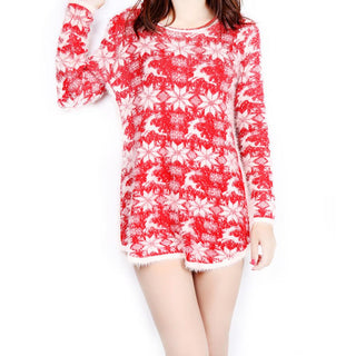 Sweater Christmas Short  Comfortable Plush Dresses