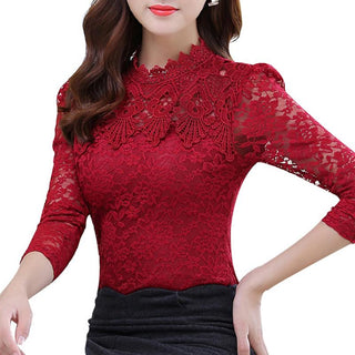 Women Tops Fashion Lace Long Sleeve Plus Size Top