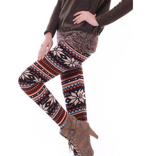 Winter Xmas Snowflake Leggings Women Printed Pants Silm