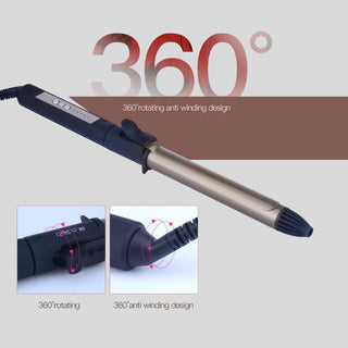 25-28mm Tourmaline Ceramic 360 Degree Rotatable Clip Hair Curling Iron Styling Tools: Deals Blast
