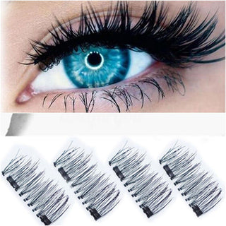 3D Double Magnetic Eyelashes Reusable Eye Lashes Extension 4PCS: Deals Blast