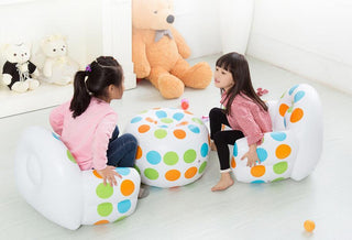 Stool Set Color Polka Dots Flocking Inflatable Children Sofa