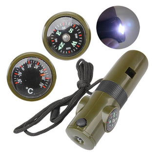 7 in 1 Multifunctional Military Survival Kit Whistle Compass Thermometer Magnifying Glass LED Light signal Mirror small Container - Deals Blast