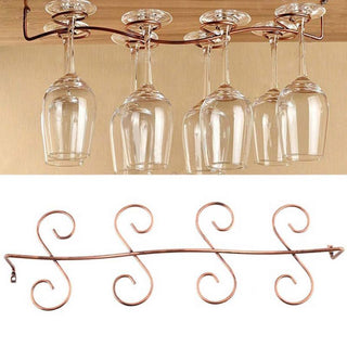 Wine Glass Rack Stemware Under Cabinet Holder Hanger Shelf Kitchen Display: Deals Blast