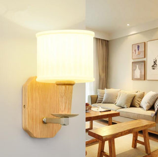 Modern Wooden Glass Wall Lamp Light Living Room - Deals Blast