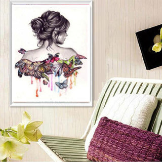 Butterfly Beauty Lady 5D Diamond Embroidery Painting Home Decor