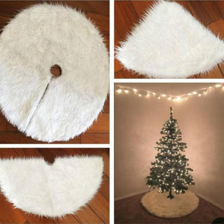 Christmas Plush Pure White Long Haired Christmas Tree Cover