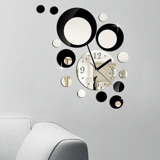 Circles Removable Decal Art Sticker Mirror Style Wall Clock