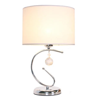 Solid Beige Fabric Cylinder Shade Chrome Body Table Lamps - Deals Blast