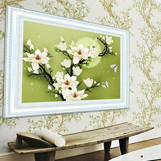 Embroidery Kit Precise Printed Magnolia Flowers  Handmade Painting