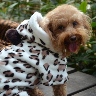 Fleece Pet Hooded Coat Leopard Costume Sweater