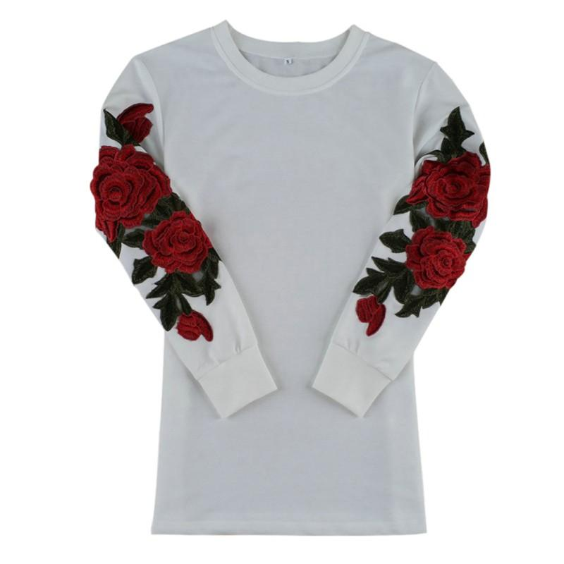 Women Flower Print Sweater knitted Pullover Shirt Clothing