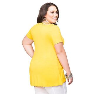 Women Summer Plus Size XL~4XL Shirts Tops V Neck Short Sleeves Feminino Casual Blouses
