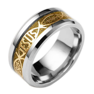 Titanium Steel  Vintage Silver Gold Black Two-Tone Holy Signet Ring Prayer Christian Jesus Religious Cocktail: Deals Blast