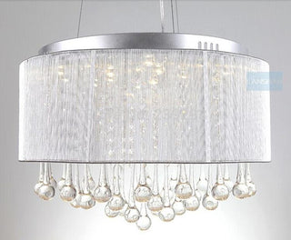 Modern Drum Chandelier Lamp Fixtures With  Rain Drop  Decoration - Deals Blast