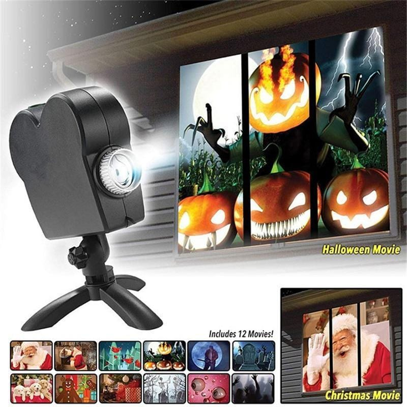 WINDOW WONDERLAND PROJECTOR FOR CHRISTMAS & HALLOWEEN - ILLUMINATES YOUR HOME DURING THE HOLIDAY SEASON!