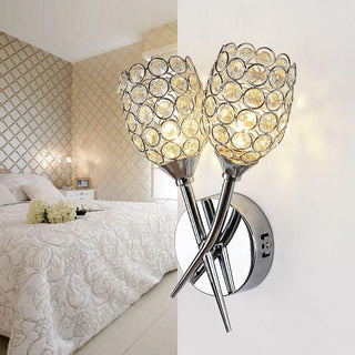 Modern Crystal Bedsides 2 Heads Wall Lamp For Creative Balcony Hallway - Deals Blast