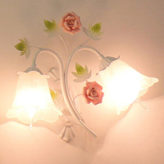 Glass Shade Ceramic Flower Porch Wall Lamps Light Hallway - Deals Blast